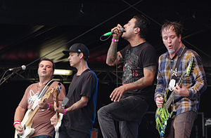 Strung Out live in 2013. From left to right: Rob Ramos, Chris Aiken, Jason Cruz and Jake Kiley.