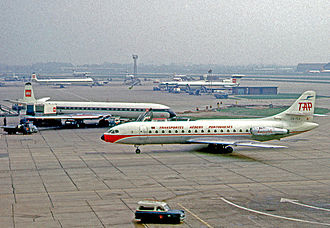TAP Air Portugal - Sud Aviation Caravelle VI-R of TAP at London Heathrow Airport in 1966