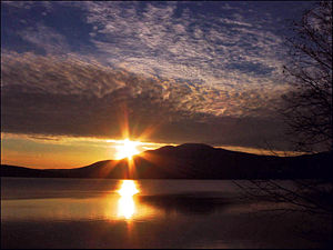 Ashokan Reservoir - Sunset over Ashokan High Point, a nearby mountain which provides a scenic backdrop to the reservoir