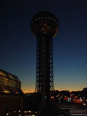 Sunsphere - The Sunsphere at night, with the Knoxville Convention Center visible in the foreground