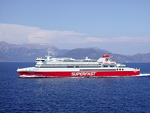 Superfast Ferries - MS Superfast XI bound to Ancona passing Kefalonia island.
