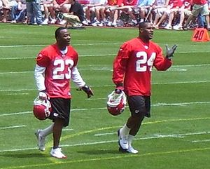 Patrick Surtain - Patrick Surtain (left) with Ty Law at the Chiefs' 2007 mini-camp.