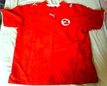 66159cf971a The Switzerland jersey between 2006–2007. The Switzerland national team s  traditional home kit is red ...