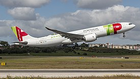 TAP A330-900NEO rocketing out of Lisbon (46640476265).jpg