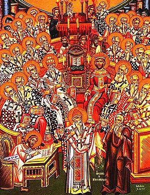 Saint Spyridon - Icon showing Saint Spyridon (center, front) silencing Arius (right, with hands over his mouth) during the First Ecumenical Council of Nicaea in 325.