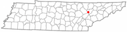 Location of Oliver Springs, Tennessee