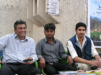 Tareque Masud - From left; Masud, Bashar and Murshed (Moviyana film activists) at the show of Runway in Sylhet. Masud took a challenge to release the film in the divisional cities before releasing in Dhaka.