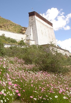 Tashi Lhunpo Monastery - The Thanka Wall overlooking the monastery