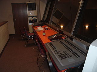 Control booth area designated for the operation of theatre or TV technical equipment (lighting and sound)