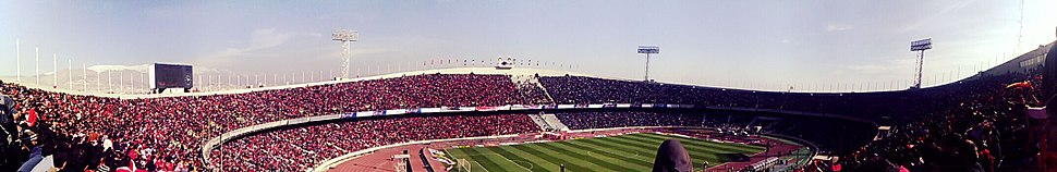 Panoramic view of the Azadi Stadium, the largest football stadium in West Asia