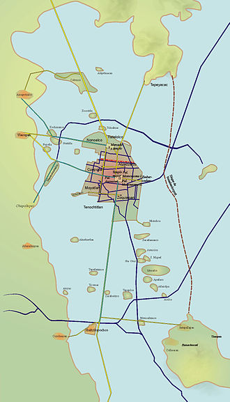 La Noche Triste - A map of Tenochtitlan and its causeways leading out of the capital.