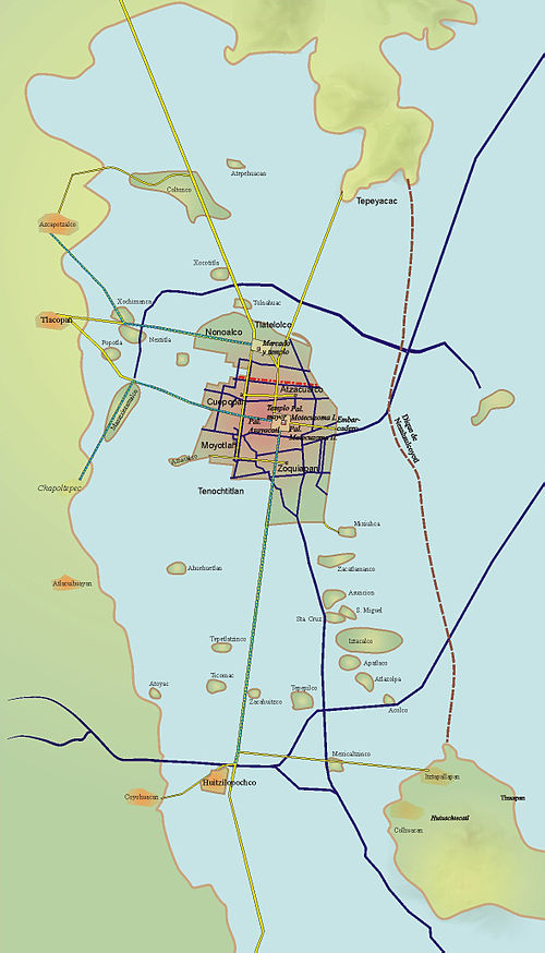A map of Tenochtitlan and its causeways leading out of the capital Tenochtitlan.jpg