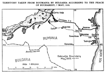 The Bulgaria–Romania border in Dobruja according to the Treaty (source: US Department of State, 1918)[1]