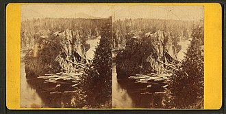 North Maine Woods - Log jam at Ripogenus Gorge during 1870s log driving.