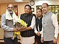 The Chief Minister of Meghalaya, Shri Conrad Sangma calling on the Minister of State for Tourism (IC) and Electronics & Information Technology, Shri Alphons Kannanthanam, in New Delhi on May 03, 2018.JPG