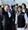 The Chinese Premier, Mr. Wen Jiabao with the Minister of State for Commerce and Industry, Shri Jyotiraditya Scindia on his arrival at the Air force Station Palam, in New Delhi on December 15, 2010.jpg