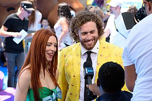 The Emoji Movie - T. J. Miller and his wife Kate at the film's premiere in Westwood, Los Angeles