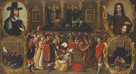 This contemporary print depicts Charles I's decapitation.