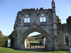 Kirkham Priory - Kirkham Priory gatehouse ruins. The armorials of various benefactors are visible sculpted on stone escutcheons