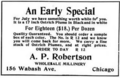 The Illustrated Milliner, Volume 7, Issue 7, advertisement - A. P. Robertson.png