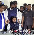 The Minister of State for Social Justice & Empowerment, Shri Ramdas Athawale addressing the press conference, in Vijayawada, Andhra Pradesh on April 26, 2018.JPG
