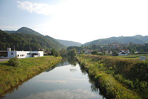 Dolenji Boštanj - Image: The Mirna River Dolenji Boštanj July 2012