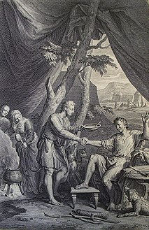 The Phillip Medhurst Picture Torah 132. Jacob and Esau. Genesis cap 25 vv 29&34. Hoet.jpg