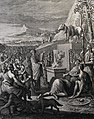 The Phillip Medhurst Picture Torah 459. Moses breaks the tables of the Law. Exodus cap 32 v 19. Luyken.jpg