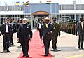 The Prime Minister, Shri Narendra Modi being seen off the President of Uganda, Mr. Yoweri K. Museveni, as he emplanes for Waterkloof, South Africa from Entebbe International Airport, Uganda to attend the BRICS Summit,.JPG