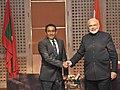 The Prime Minister, Shri Narendra Modi meeting the President of Maldives, Mr. Abdulla Yameen, at the 18th SAARC Summit, in Kathmandu, Nepal on November 26, 2014.jpg