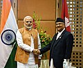 The Prime Minister, Shri Narendra Modi meeting the Prime Minister of Nepal, Shri K.P. Sharma Oli, on the sidelines of the 4th BIMSTEC Summit, in Kathmandu, Nepal on August 31, 2018.JPG