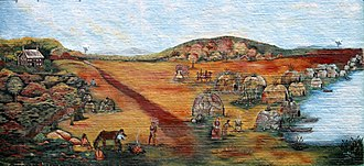 "Oswego, Kansas - Several murals can be found around the city. The most famous is this reproduction of E. Marie Horner's ""The Village of White Hair"" depicting the relationship between white trader John Mathews and the Osage, led by Chief White Hair."
