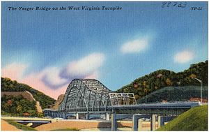 Interstate 77 in West Virginia - Postcard view of the Yeager Bridge