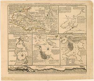 Edward Vernon - English map published in 1740 to build support for the ongoing war against Spain and to incite to the conquest of Havana. This city's plan and view are based in part on Vernon's sketches.