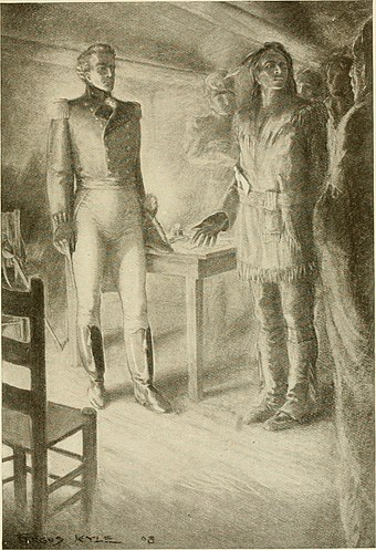 Isaac Brock meeting with Tecumseh in Amherstburg; the British victory at Mackinac Island encouraged Indians to support the British at Amherstburg The story of Isaac Brock, hero, defender and saviour of upper Canada, 1812 (1908) (14763177825).jpg
