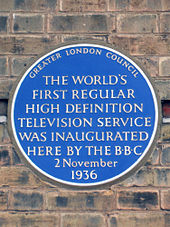 d0fb3b376f16 Greater London Council event plaque at Alexandra Palace, commemorating the  launch of BBC Television in 1936 (erected 1977)