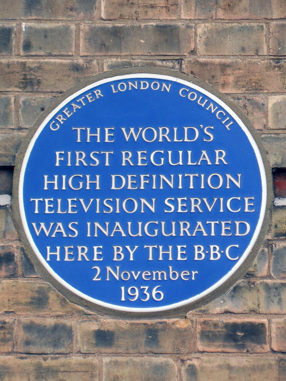 The world's first regular high definition television service was inaugurated here by the BBC 2 November 1936