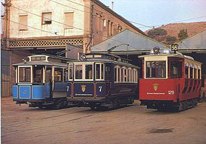 Tramvia Blau - Cars 2, 7 and 129 posed in front of the depot in 2005. Car 7 is in its pre-rebuilt condition, as can be seen by comparison with the image at the head of this article.