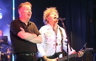 Tom Robinson - Robinson (left) with Jamie Moses at the Rock Against Cancer concert,  All Cannings, 2012