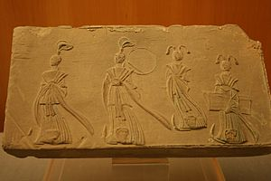 "Wu (shaman) - Han Dynasty tomb-tile showing ""long-sleeved dancers"" and attendants."