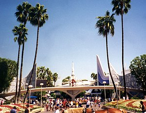 Tomorrowland - Disneyland's Tomorrowland entrance in 1996, before the 1998 makeover.