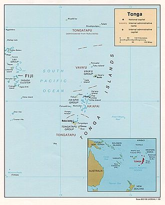 Geography of Tonga - Tonga's position in the South Pacific.