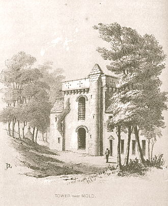 Cambrian Archaeological Association - Tower, Broncoed, near Mold 1846. Soft Ground etching by Harry Longueville Jones, Archaeologia Cambrensis, vol. 1 (1846), p. 54
