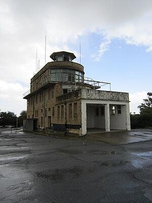 RAF Nicosia - Derelict control tower of Nicosia Airport