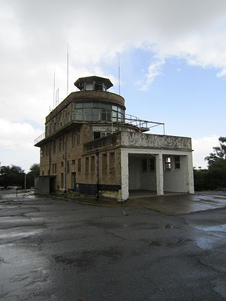 RAF Nicosia - Derelict control tower of Nicosia Airport