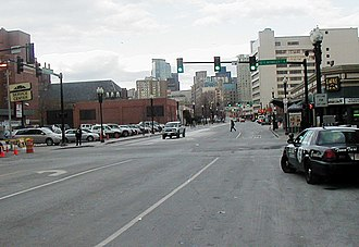 Boston Neck - Site of the town gate in colonial Boston as it appeared in 2007. This is Washington Street looking towards Boston.