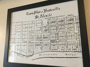 Butteville, Oregon - Town plat from survey by R. V. Short in 1859, currently on display inside the Butteville Store.