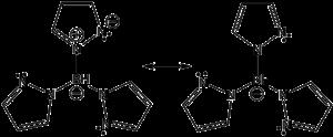 Trispyrazolylborate - Two of several resonance structures for trispyrazolylborate.