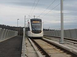 Tram on a bridge (geograph 3765531).jpg