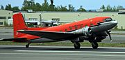 TransNorthern DC-3 landing at ANC